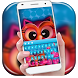 Sweet Owl Love Keyboard Theme by cool wallpaper