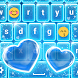 Neon Blue Keyboard with Emojis by Thalia Photo Corner