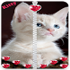 Kitty cat Zipper Lock Screen Diamond