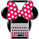 Cute Minny Pink Bow Silver Diamond Keyboard Theme