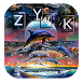 dolphin galaxy ocean planets keyboard water paint by Keyboard Theme Factory