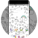 Cute Unicorn Cartoon Theme with Rainbow Wallpaper by Mobo Theme Apps Team