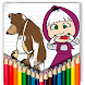 coloring for masha and bear