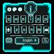 neon blue future keyboard light robot by Keyboard Theme Factory
