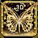 3D Luxury Gold Diamond Butterfly