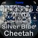 Silver Blue Cheetah Theme&Emoji Keyboard by Emoji GIF Maker Fans
