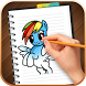 Draw & Color Little Pony by Kids Tutorial