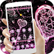 Pink Black Diamond Glitter Hearts Theme by New Theme World