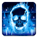 Blue Flaming Skull Keyboard by Cool Theme Studio