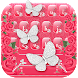 Pink Silver Diamonds Butterfly keyboard Theme by HD Theme launcher Creator