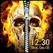 Fire Skull Zipper Lock Screen App
