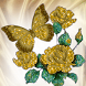 Gold Butterfly Flowers Live Wa by annhoedroid