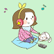 Girl n cat Green Atom Theme by DLTO