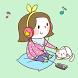 Girl n cat Green Atom Theme by DLTO
