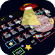 cartoon ufo alien keyboard space rocket stars by Keyboard Theme Factory