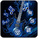 Music Blue Guitar by Launcher phone theme