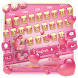 Pink lovely gold????pink love sweet glimmer keyboard by COOL THEME