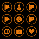 Orange On Black Icons By Arjun Arora by Arjun Arora