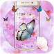 Pink flower cute butterfly wallpaper & lock screen by Theme and keyboard design team