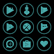 Teal On Black Icons By Arjun Arora by Arjun Arora
