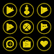 Yellow On Black Icons By Arjun Arora by Arjun Arora