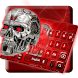 Red Neon Skull Keyboard Theme by cool wallpaper
