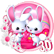 3d Cute Pink Bunny Theme