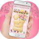 Cute Pink Teddy Love Flowers by Artchilly