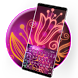 Colorful Neon Flower Typany Keyboard Theme by Cool Themes and art work
