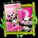 Cute Panda Pink Glitter Theme by Launcher Fantasy