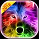 3D Wild Neon Wolf Theme