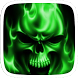 Flaming Skull Green Theme by Featuredtheme