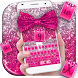 Pink Glitter Bow Keyboard Theme by Pretty Keyboard Theme