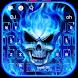 Blue Fire Flaming Skull Keyboard