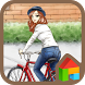 to girl bike walk dodol theme by iconnect for PhoneThemeshop