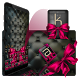 Black Pink Bow Keyboard Theme by Keyboard Theme Factory