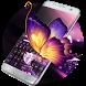 Vivid purple neon butterfly keyboard by Bestheme Keyboard Designer 3D &HD