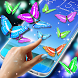 Real Butterflies on Screen by 3D HD Moving Live Wallpapers Magic Touch Clocks