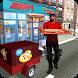 Futuristic Sports Bike Pizza Delivery Boy in City