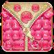 Salmon Pinky Zipper Keyboard Theme by stylish android themes
