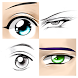 How to draw female eyes and male eyes by pad studio