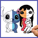 How to draw Lilo and Stitch by Draw and enjoy