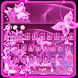 Neon pink butterflies keyboard by Echo Keyboard Theme
