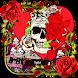 Red rose skull Keyboard theme