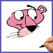 How to draw The Pink Panther by Draw and enjoy