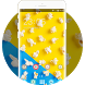 Cute Sweets Theme: Popcorn Yellow Blue Wallpaper