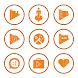 Orange On White Icons By Arjun Arora by Arjun Arora