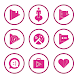 Pink On White Icons By Arjun Arora by Arjun Arora