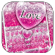 Pink Glitter Love Heart Keyboard Theme by Super Cool Keyboard Theme