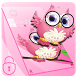 Pink anime cute owl theme by Free new hot colorful themes